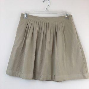 Banana Republic Pleated A-Line Khaki Ribbon Skirt